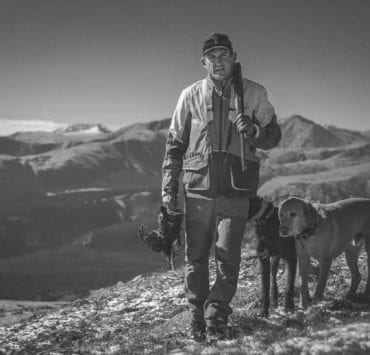 Fred Bohm grouse hunting with his bird dogs.
