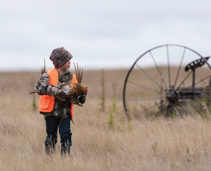 A child carries pheasant on a bird hunting trip.