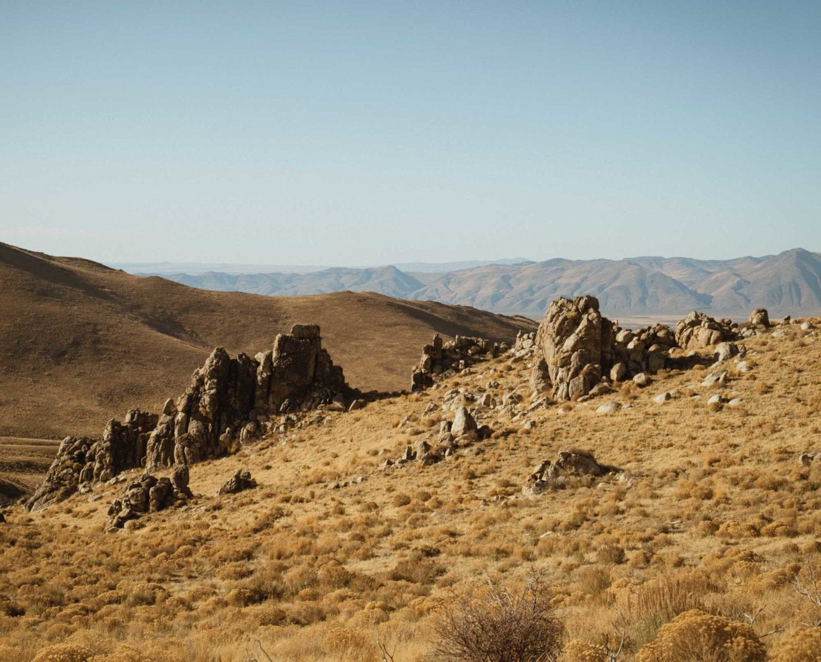 View from above of chukar country on a bird hunting trip.