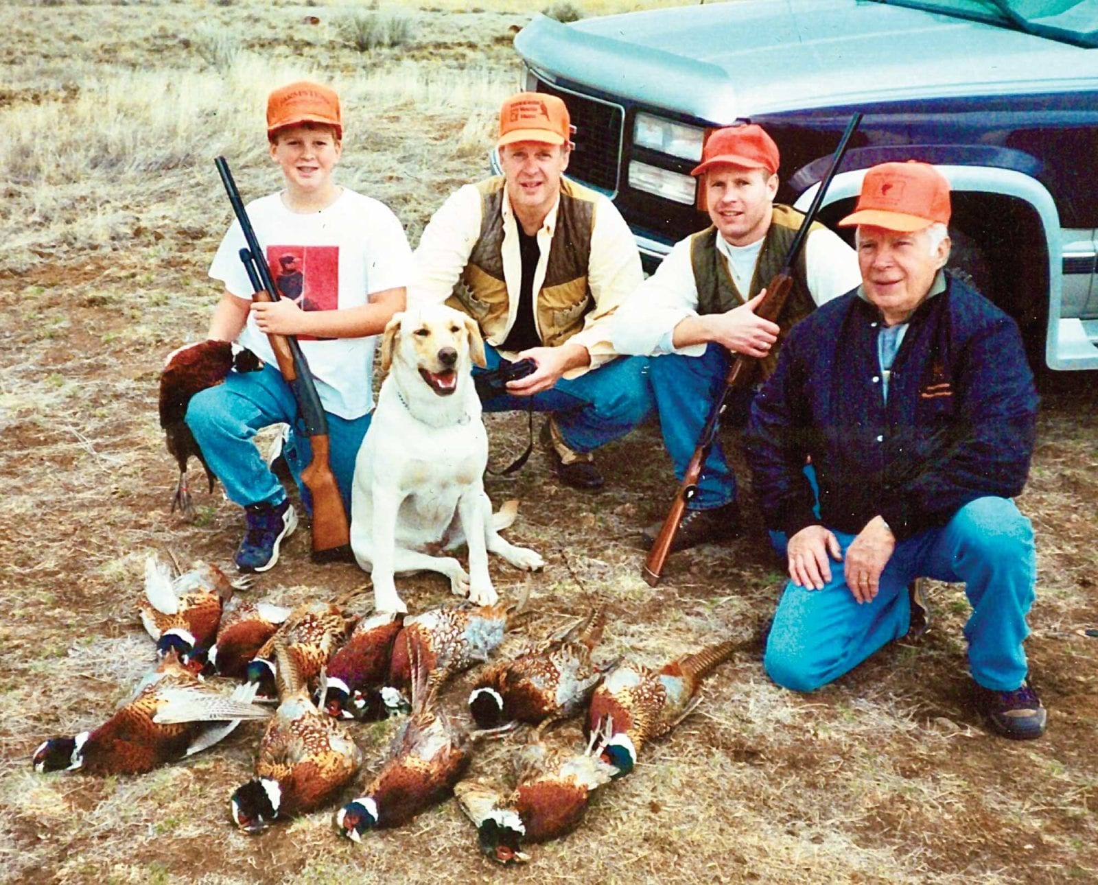 The author on a pheasant hunting trip with his family as a kid.